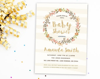 printable baby shower invitation baby girl shower invitation rustic baby shower invitation blush