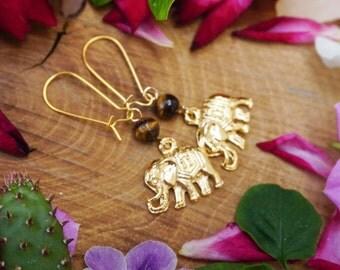 Elephant Earrings, Golden Earrings,Tiger Eye Earrings, Kidney Earrings,Animal Earrings,Good Luck Jewelry, Boho Earrings, Yoga Earrings
