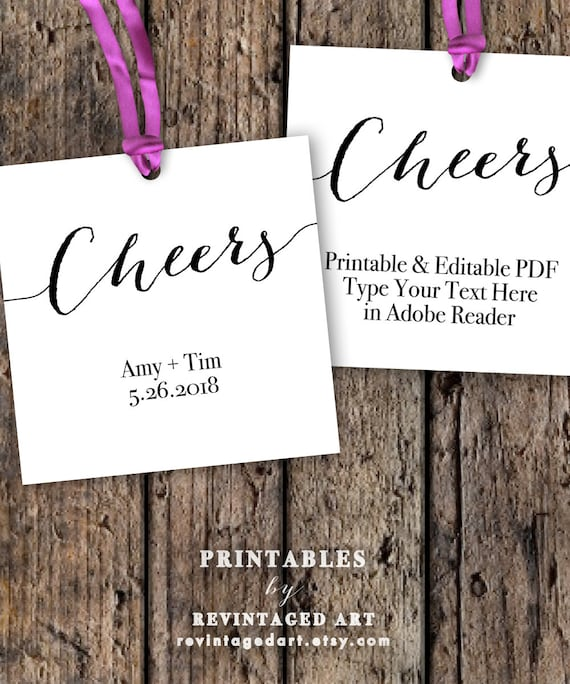 cheers tags printable editable favor tag template by