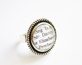 Jane Austen book page ring. Sense & Sensibility. Pride and Prejudice. Mansfield park. Emma. Northanger. Persuasion. Literature. booklovers