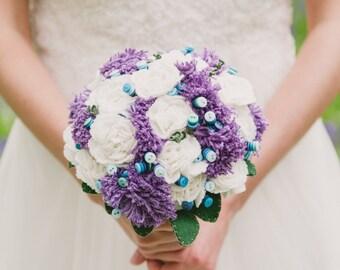 Wild flower inspired bridal bouquet / felt button bouquet / everlasting flower / alternative wedding flowers / purple blue and white bouquet