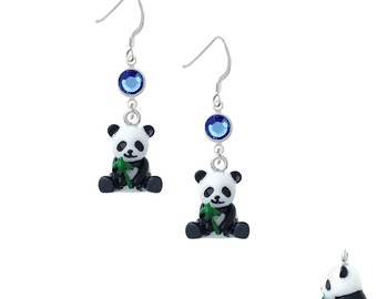 Panda Earrings - Crystal Link/Sterling Silver French Hooks - Silver Plated Panda Jewelry, Panda Bear Gifts Select Color: EF-N1101-SwC-F1728