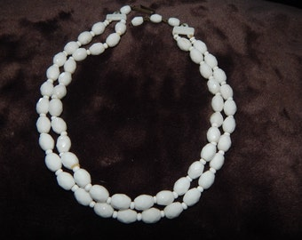 Vintage West Germany Necklace White Plastic Bead Double Strand Necklace Signed West Germany