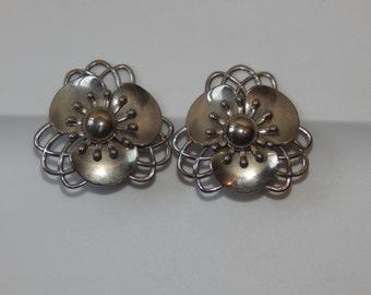 Vintage Flower Earring Large Silver Tone Flower Power Clip Back Earrings