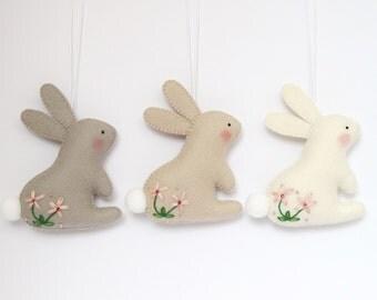 Felt Easter BUNNY, Felt ornament, felt rabbit, 100% wool felt ornament, spring ornament, spring decorations, embroidery