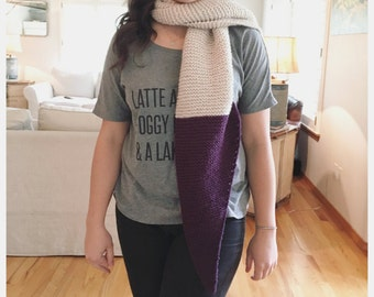 Knit plum tip colored scarf