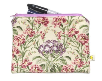 Pencil case with a flower bouquet, purple and pink floral zipper pouch, pretty cosmetic pouch