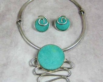 Carol Dauplaise Modern 1980s Jewelry Set - Silver Turquoise Suede Necklace Earrings Choker