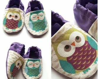 Baby Shoes - Baby Booties - Crib Shoes - Pram Shoes - Baby Girl Shoes -Owl Shoes - Soft Sole -Baby Shower Gift -Toddler Shoes- Owls-Slippers