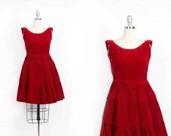 Vintage 1950s dress // 50s red velvet dress