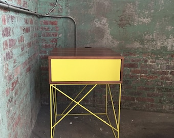 Solid Wood Side Table with Steel Panel Drawer and Geometric Steel Base