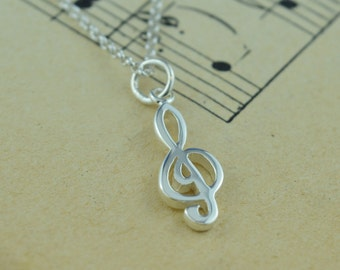 Sterling Silver Treble Clef Charm Necklace