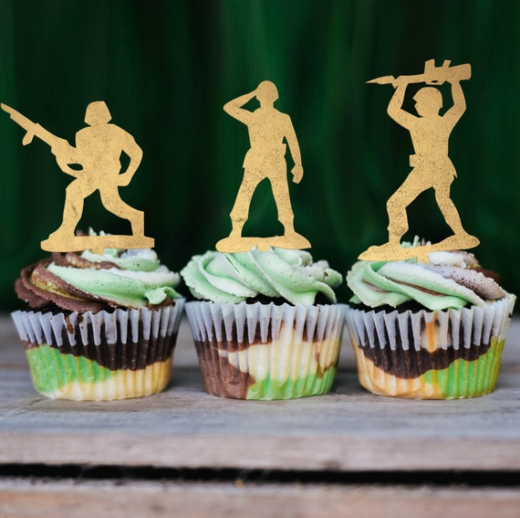 Army Cupcake Toppers, Military Themed Party Cupcake Toppers, Birthday Cupcake Toppers, GI Joe Cupcake Toppers, Boy Birthday Party, MASH