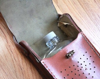 Brown Leather Radio Case with Glass Flask