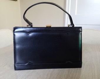 """Vintage """"Dofan""""  Black Leather Handbag Made in France"""