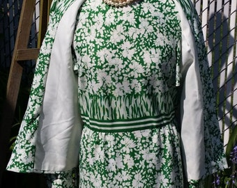 Vintage Summer Green and White 2 Piece Dress