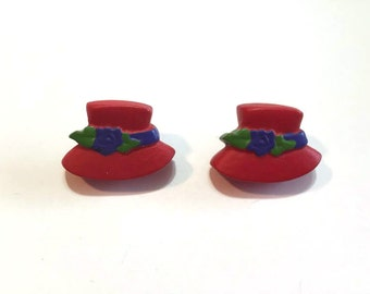 Red Hat Society Buttons Blumenthal Lansing Set of 2 Shank Back - 109