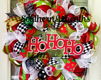 Christmas Wreaths, Deco Mesh Christmas Wreath, Front Door Wreath, HoHoHo Holiday Wreath, Christmas Door Decoration, Red Green Black Wreath