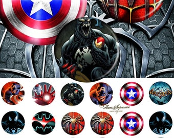 Marvel 20mm -- paper 4x6 , tie clip.20mm or 0.8inch jewelry cufflinks magnets etc  digital collage sheet 24 images