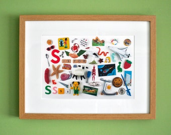 Limited Edition Alphabet Collage Print With Mount: S Is For...  Original, Vintage-Themed, Unframed