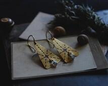 stella polaris • north star earrings - labradorite earrings - etched jewelry - etched brass earrings - witch jewelry - celestial earrings
