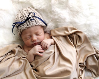Baby Newborn Prop Knitted Hat Bow Linen- Begonia Hat