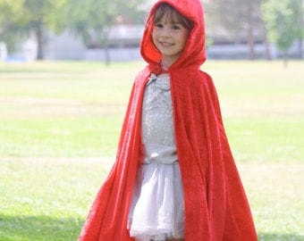 Red Beauty Childrens Cloak / Girls Beauty Princess Cape / Childs Little Red Riding Hood Costume / Devil Cloak / Flower Girl / Halloween Cape