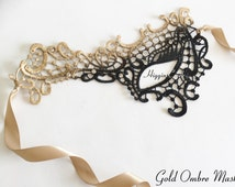 Masquerade Mask Gold Lace Red Mask Mardi Gras Mask Phantom of the Opera