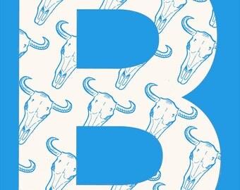 B is for Bullskull, Monogram letter B, Typographic, Limited edition, Original Illustration Fine Art Print