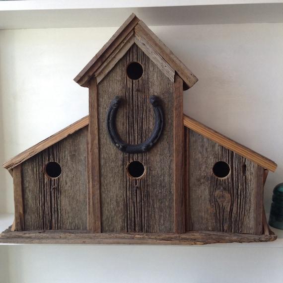 Large bird house rustic birdhouse barn wood birdhouse for Primitive house plans