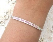 "Customizable ""Females Are Strong As Hell"" Engraved Stamped Bracelet with Female Symbol, Made to Order"