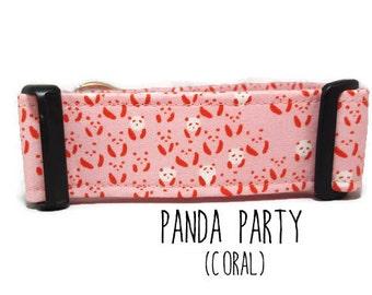 Girl Dog Collar, Panda Dog Collar, Pink Dog Collar, Pink Panda Collar, Panda Bear Collar, Cute (Upgrade to Metal Buckle or Martingale)