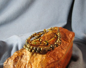 4 Strand 1mm Round Brown Leather with Earth Tone Beads Wrap Bracelet and Antique Gold Toggle Clasp