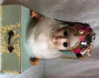 Madame Jewelyette - Gems jewelry fortune tarot steampunk art doll upcycled vintage assemblage art OOAK