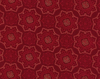 Metallic Red Christmas Fabric, Timeless Treasures Holiday Hearth CM3283 Red, Metallic Tonal Medallion Quilt Fabric, Cranberry Red Cotton