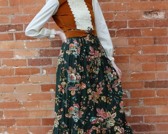 Vintage 1970s Little House on the Prairie Boho Cowgirl NOS Dress