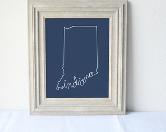 Printable Indiana State Art Print 8x10 Digital Wall Art Gift