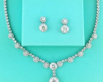 CZ Jewelry Set, Crystal Wedding Necklace Set, bridal jewelry set, wedding jewelry set, bridesmaid jewelry set, jewelry set 273011686
