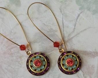 Amethyst Crystal Rhinestone Earrings Vintage Swarovski Crystal Earrings Purple Gold Crystal Earrings Art Deco Earrings Amethyst Earrings