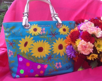 Hand Painted NEW Michael Kors Handbag