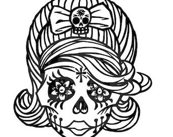 Rockabilly Sugar Skull Vinyl Decal