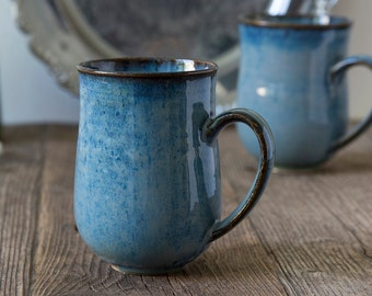 Blue Ceramic Coffee Mug, Pottery Stoneware Mugs, Hand Thrown 10oz Mug, Coffee Lovers Gift, Tea Mug, Unique Hostess Gift, Gift for Sister