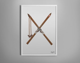 Vintage Skis Illustrated Print. Winter Decoration for Home, Nursery, Kid's Room, Office.