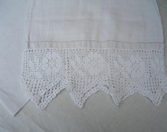 Linen Tea Towel VintageTowel dish towel long white linen kitchen towel Commode Bar Towel Long Hand Crochet Edging Linen Towel