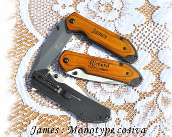 SET OF 3 Engraved Pocket Knife , Personalized Gifts Knife ,Groomsman Gift ,Camping Knife - Hunting Knife