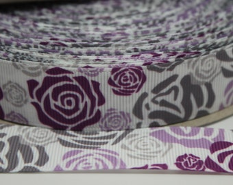 Flower 7/8  Inch Grosgrain Ribbon by the Yard for Hairbows, Scrapbooking, and More!!