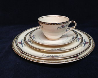 MELROSE by POPE GOSSER 36 Piece Set of Antique Melrose Pattern Fine China with Pink Rose Baskets, Scrolls & Dark Band Edges - Circa 1940s