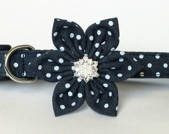 Chambray Polks Dot Flower ONLY for Dog collar, Cat collar, collar flower, pet collar flower, wedding flower, flowers for dog collars