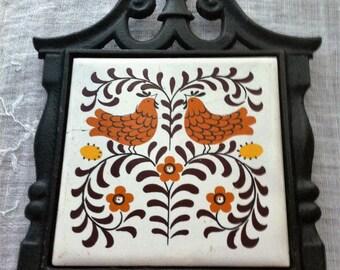 Cast Iron and Ceramic Trivet
