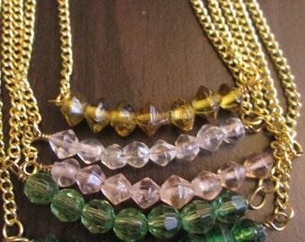 Gold Beaded Bar Jewelry Set